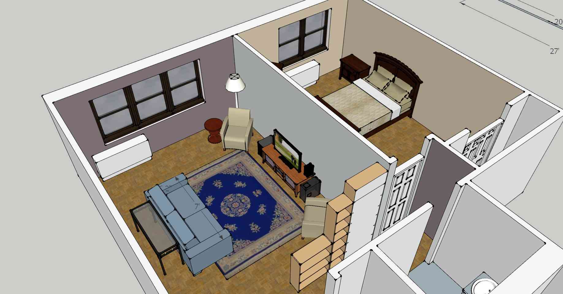 Stunning Design Of The Simple Floor Plans With Living Room And Bed Room Ideas With Single Bathroom