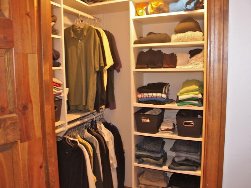 Merveilleux Stunning Design Of The Small Closet Design With Brown Wooden Door Ideas  Added With White Shelves