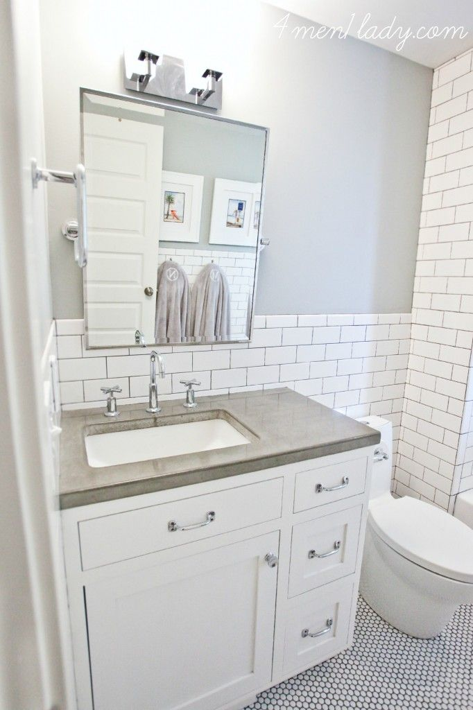 Stunning Design Of The White Tile Bathroom With White Wooden Cabinets And White Toilets With Grey Wall Ideas