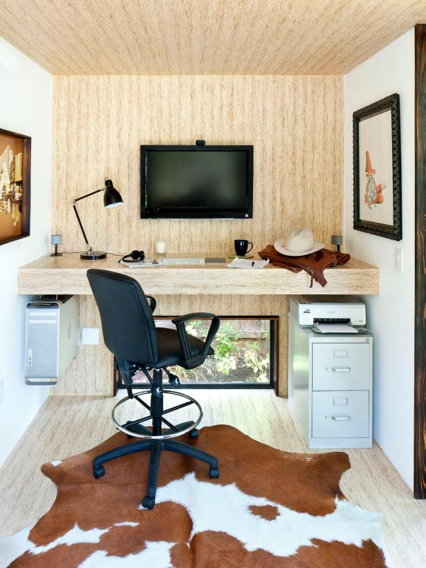 Stunning Hanging Wooden Desk Plus Dark Arch Table Lamp and Chair