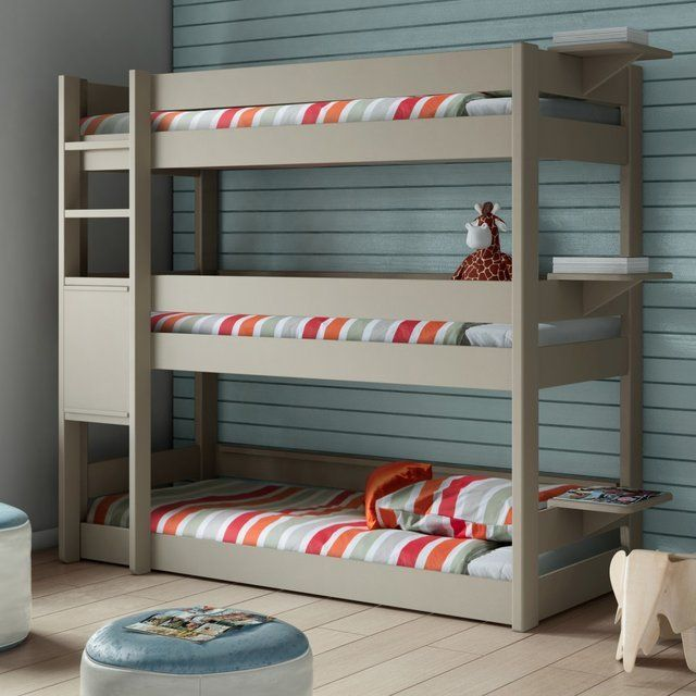 Stunning Kids Bedroom Using 3 Bed Bunk Beds With Stripe Cover and Pillow