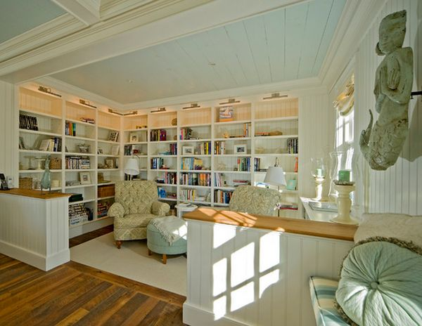 Stunning Office Room With Bamboo Wall Panels also L Shaped Bookshelve Plus Desk