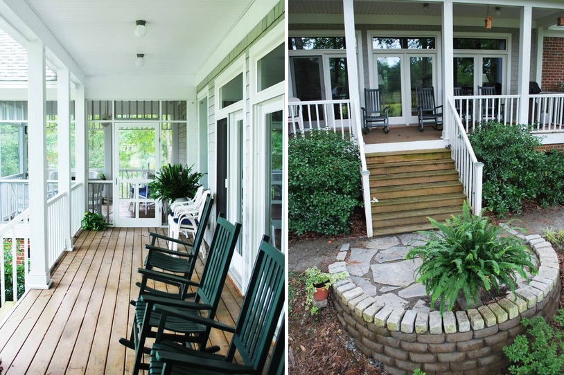 Stunning Porch Decor Using Black Wooden Rocking Chair also Minimalist Railing