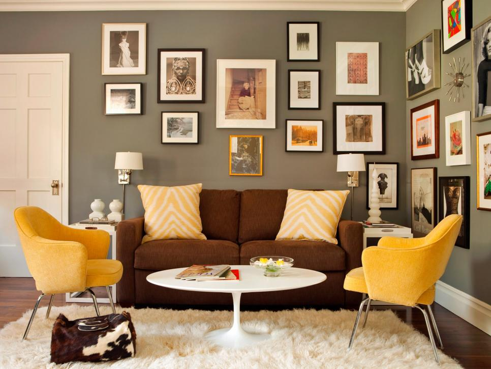 Stunning Wall Decor also Modern Sofa Plus Yellow Chairs Decor
