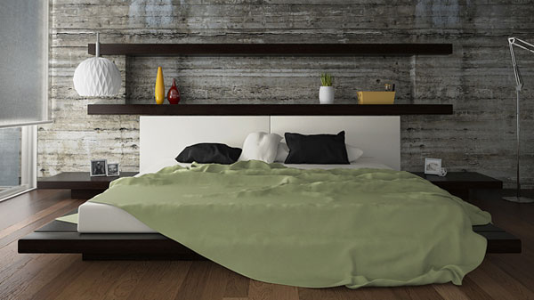 Stylish Bedroom Interior Decor With Bed also Wooden Wall Mounted Headboards