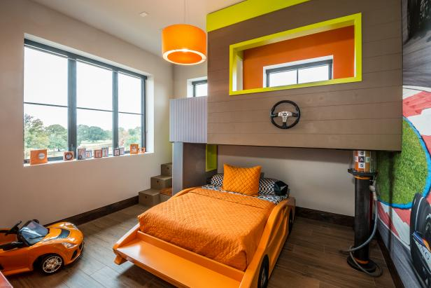 Superior Stylish Boy Room With Unique Bunk Beds Also Orange Chandelier