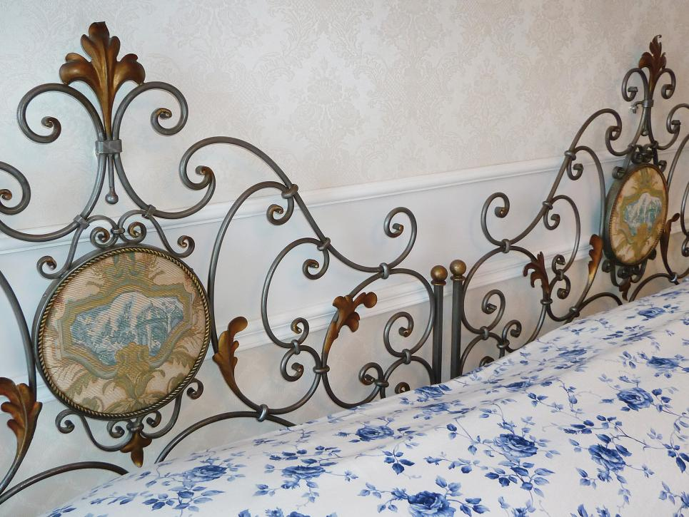 Stylish Design Of Wrought Iron Bed Frames also Flowery Cover