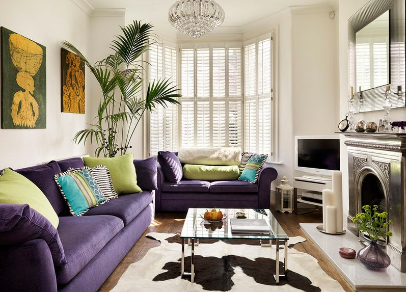 Stylish Living Area Using Purple Sofa and Square Glass Coffee Table