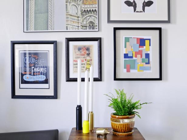 Stylish Room Decor With Wall Art also Plant On Vase Near Candle