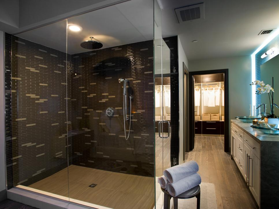 Stylish Shower Area Using Black Wall Tile and Glass Door