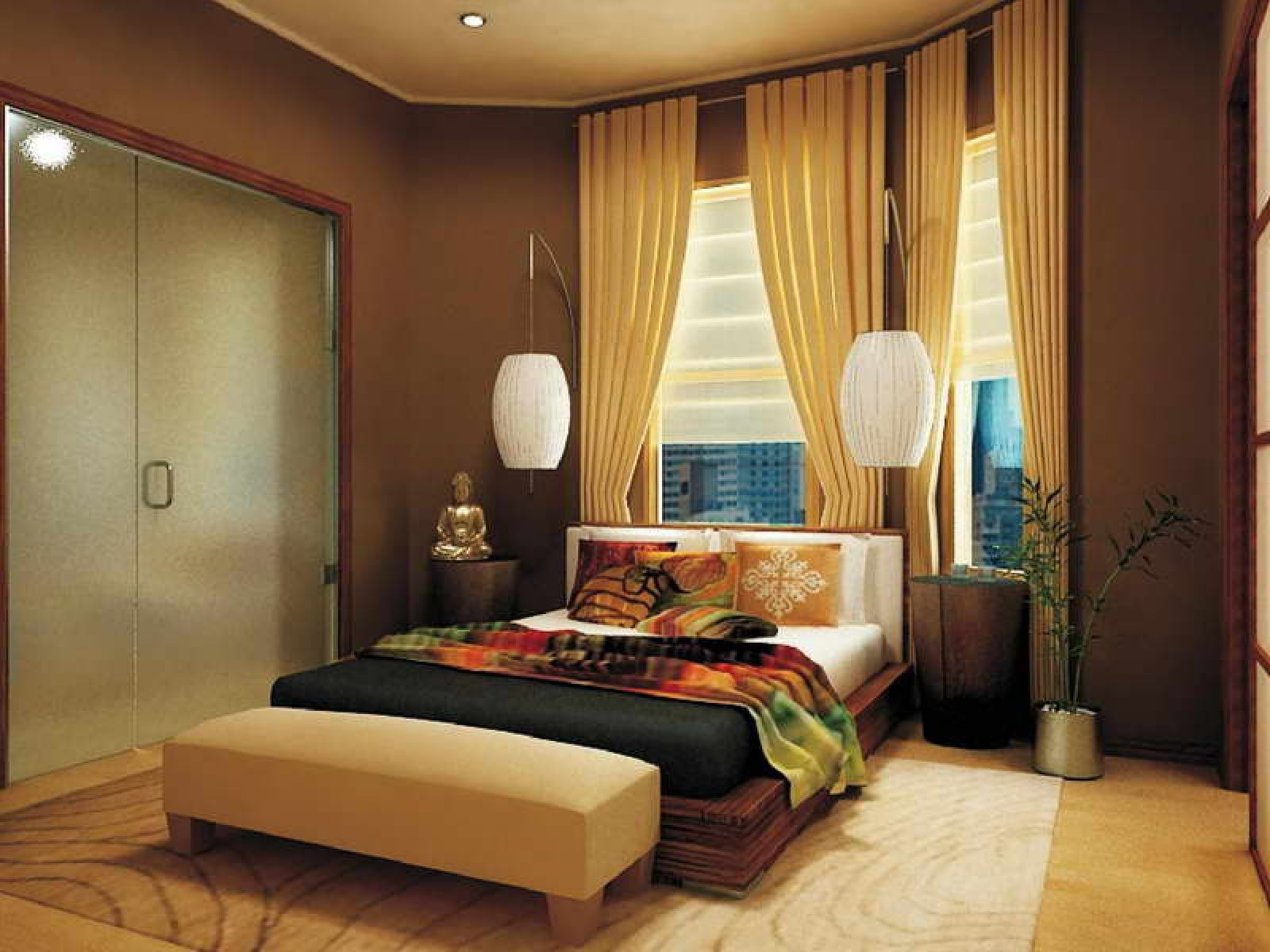 Stylish Wall Lamps and Bed also Bench For Basement Bedroom Ideas