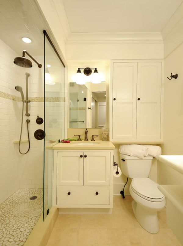 Sumptuous Bathroom With Vanity Between Toilet and Showering Area