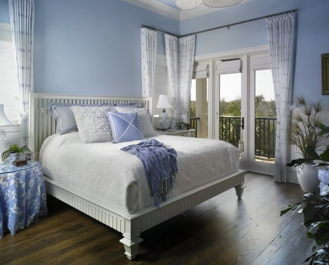 Sumptuous Bedroom With White Bed also Light Blue Paint Decor