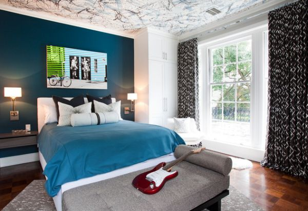 Sumptuous Ceiling also Navy Wall Bedroom Paint Color Ideas Plus Charming Bed