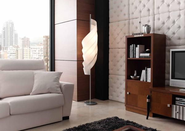 Sumptuous Floor Lamp Near TV Cabinet Plus Wall Paneling Ideas