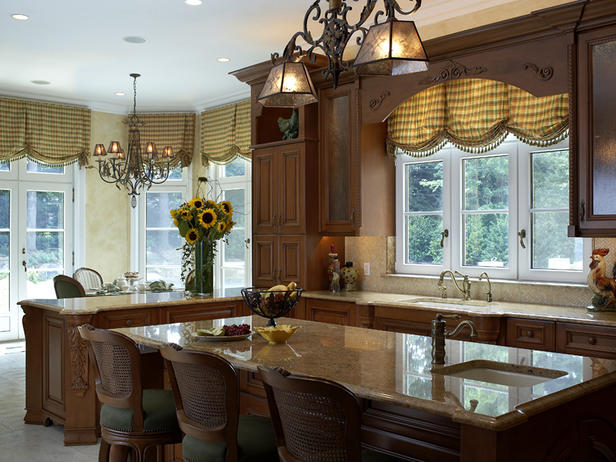 Sumptuous Kitchen Using Bar Table and Chair Under Chandelier also Plaid Curtain
