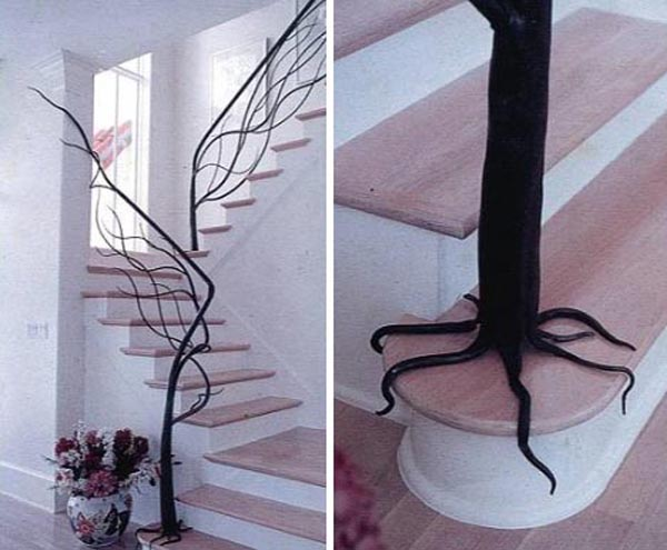 Sumptuous Staircase With Cute Dark Tree Branch Hand Railing Design