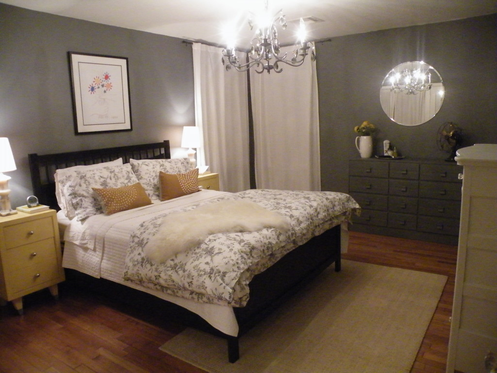 Superb Design Of The Bedroom Paint Color Ideas With Brown Wooden Floor Ideas Added With Grey Wall And White Ceiling