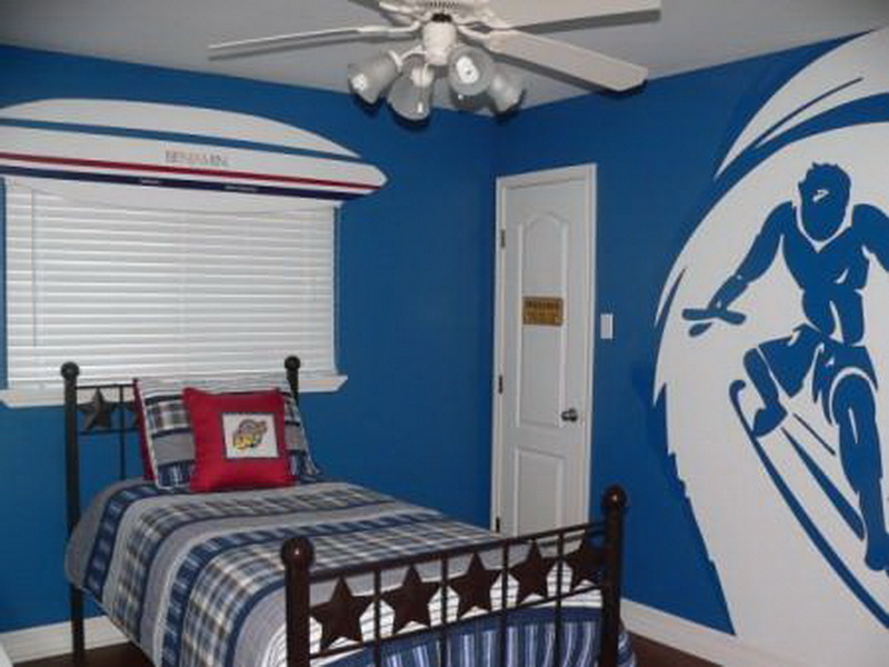Superb Design Of The Boy Bedroom With Blue Wall Ideas Added With White Ceiling And Brown Wooden Floor Ideas