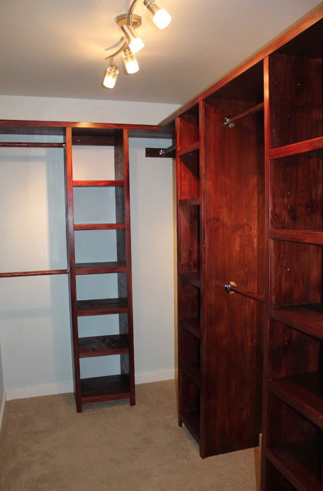 Superb Design Of The Closet Light Fixtures With Red Brown Wooden Shelves Ideas Added White Wall And Ceiling Ideas