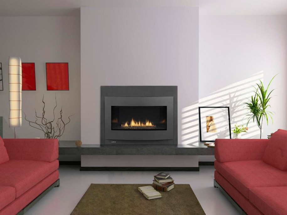 Superb Design Of The Electric Fireplace With White Wall Added With Grey Mantels Fireplace And Red Sofa