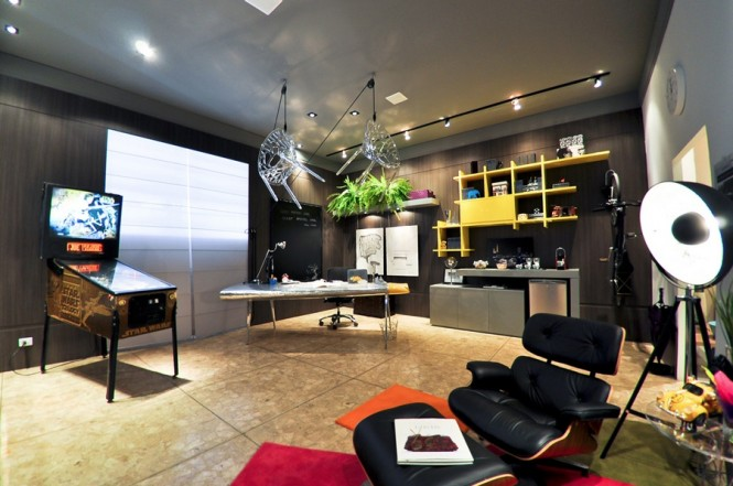 Superb Design Of The Home Office Areas With Grey Wall Ideas Added With Brown Tile Floor And Black Leather Seat Ideas