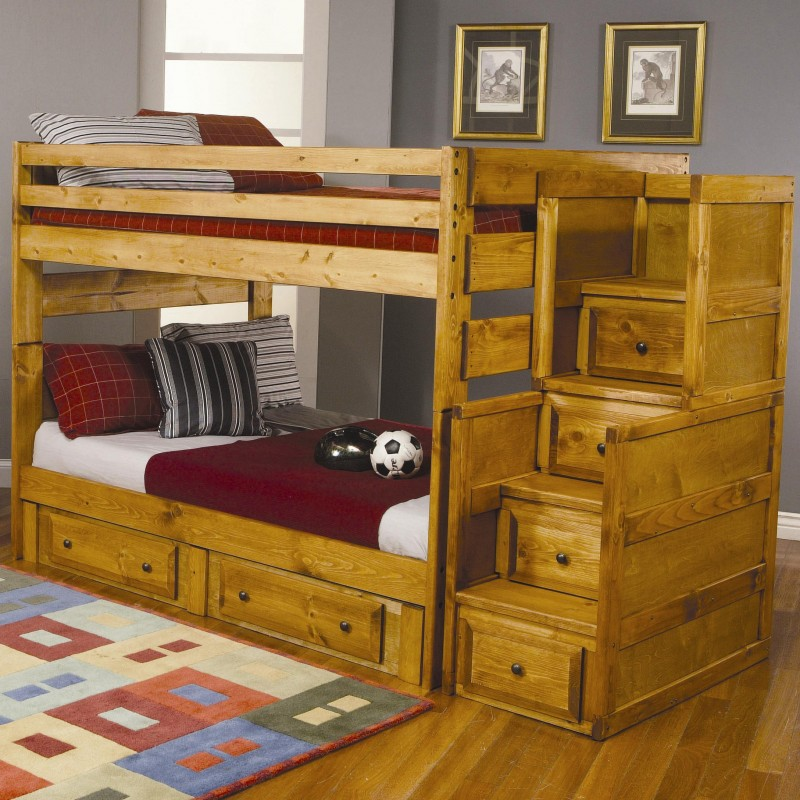 Superb Design Of The Loft Bed With Storage With Laminated Brown Wooden Bed Added With Some Storage At The Stairs Areas