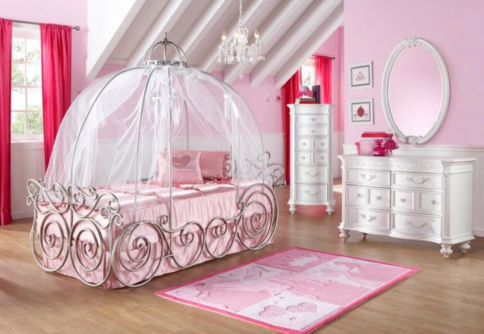 Superb Design Of The Princess Canopy Bed With White Wooden Cabinets Added Pink Curtain And