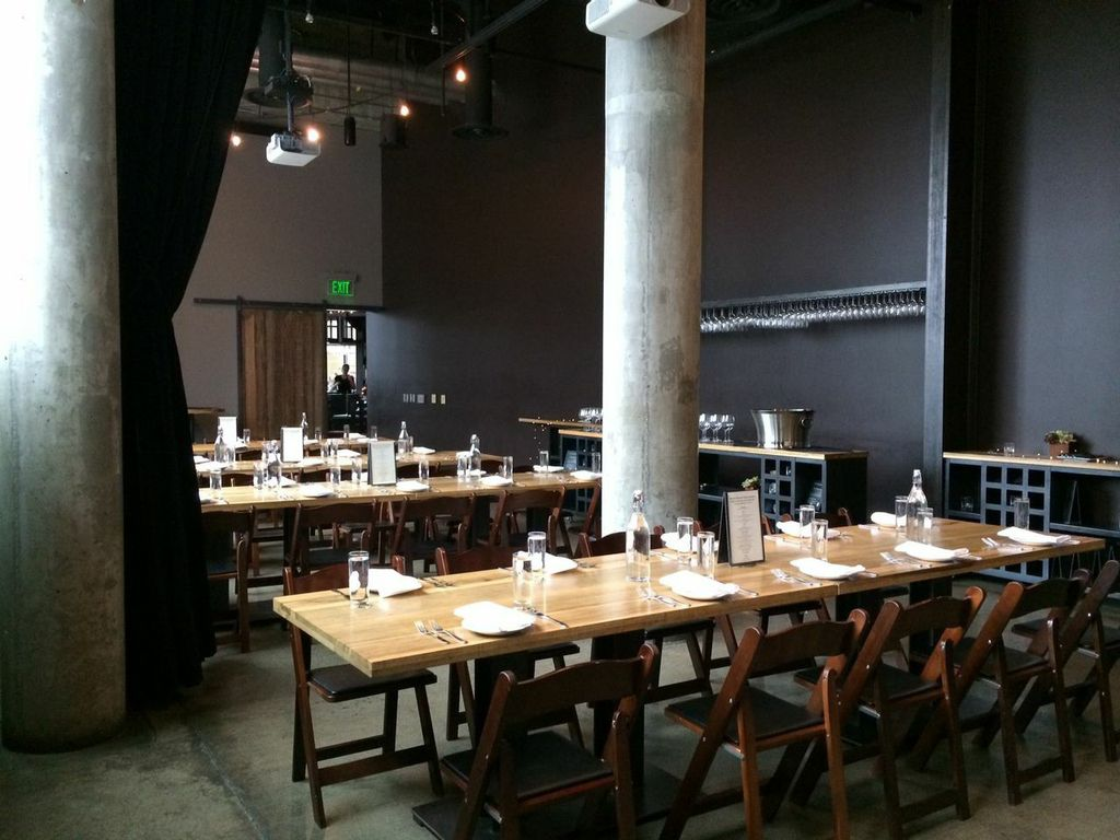 Superb Design Of The Purple Cafe At Seattle With Grey Wall Added With Brown Wooden Long Table And Brown Wooden Chair Ideas