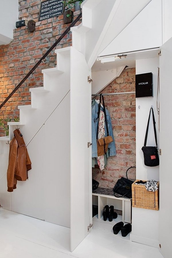 Superb Design Of The Storage Under The Stairs With White Wall Added With Some Hook Coat Ideas With White Floor Ideas