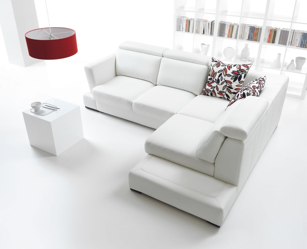 Superb White Living Room Set with L White Fabric Sofa Added with Red Hanging Lamp