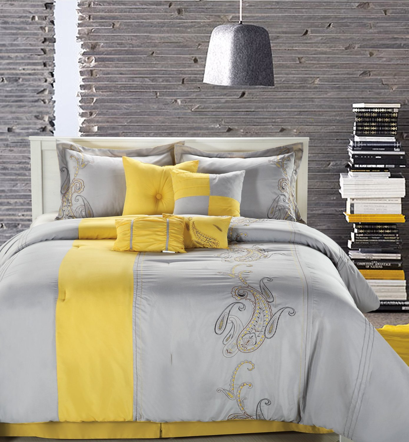 Superior Duvet And Pillow Also Chandelier For Perfect Gray And Yellow  Bedroom