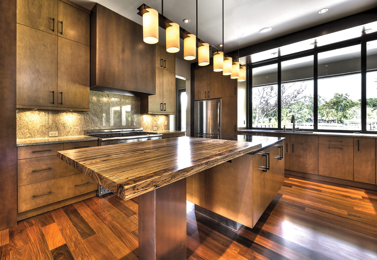 Taking Bar Table With Wooden Kitchen Countertop Materials also Lavish Pendant Lighting