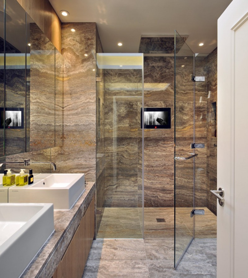 Tantalizing Bathroom Design Using Visible Shower Area also Modern Shelves