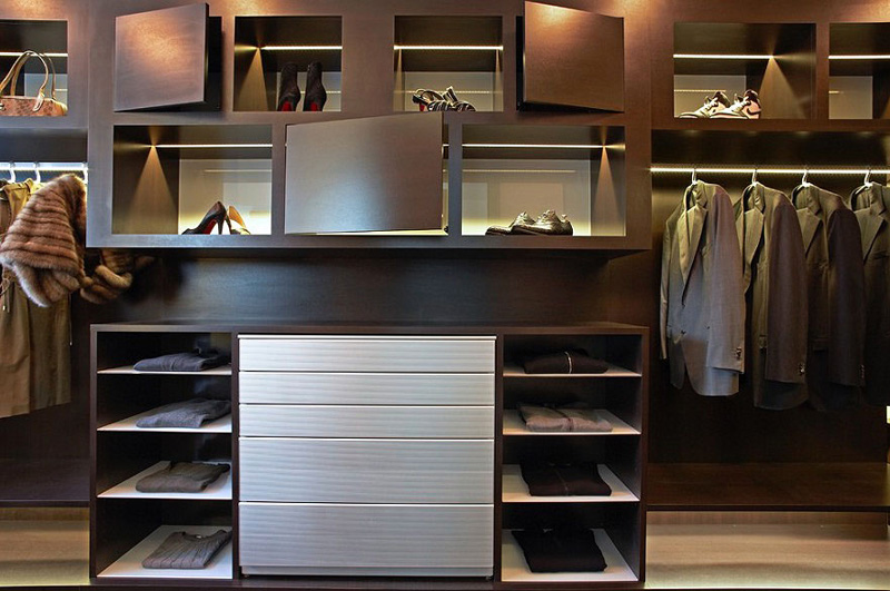 Tantalizing Closet With Neat Light Fixtures Decor on Every Rack