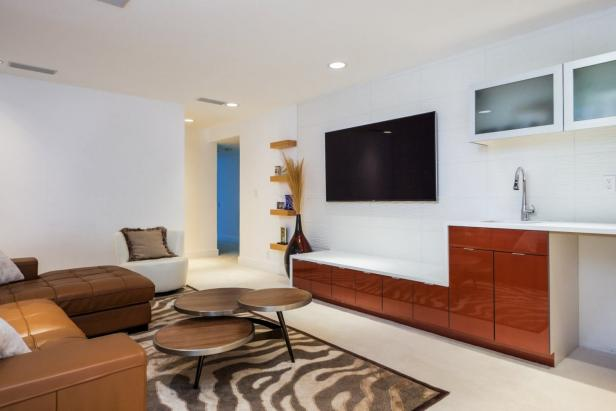 Tantalizing Family Area Using Coffee Table and Sofa Plus White Media Cabinet