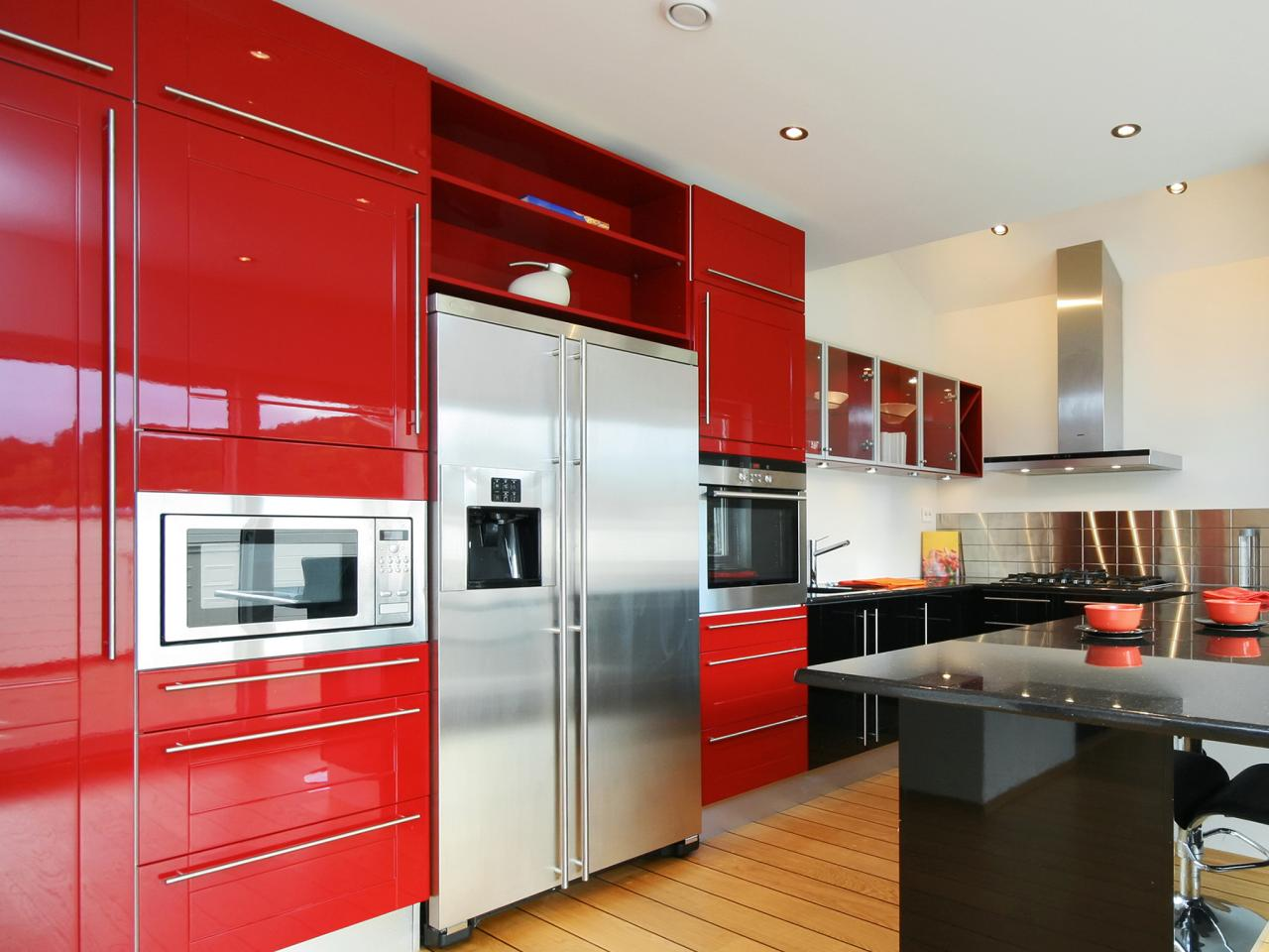 Tantalizing Interior Using Red Kitchen Cabinets Colors also Dark Bar Table