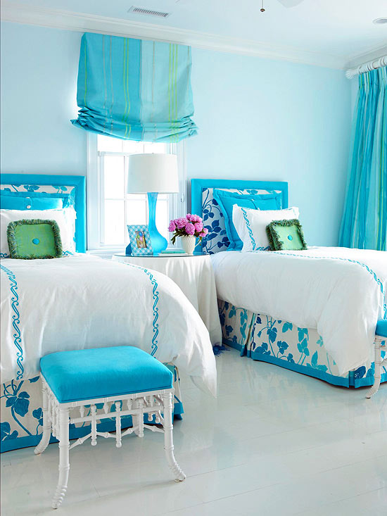 Tantalizing Interior With Blue Wall Bedroom Paint Color Ideas also Twin Beds
