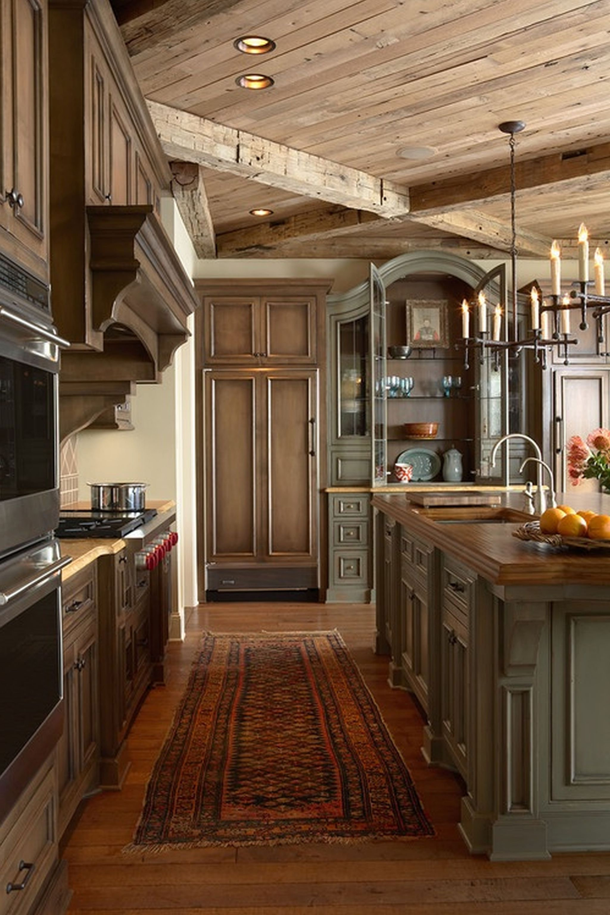 Tantalizing Kitchen Using Rustic Wooden Cabinet and Pendant Light Fixture