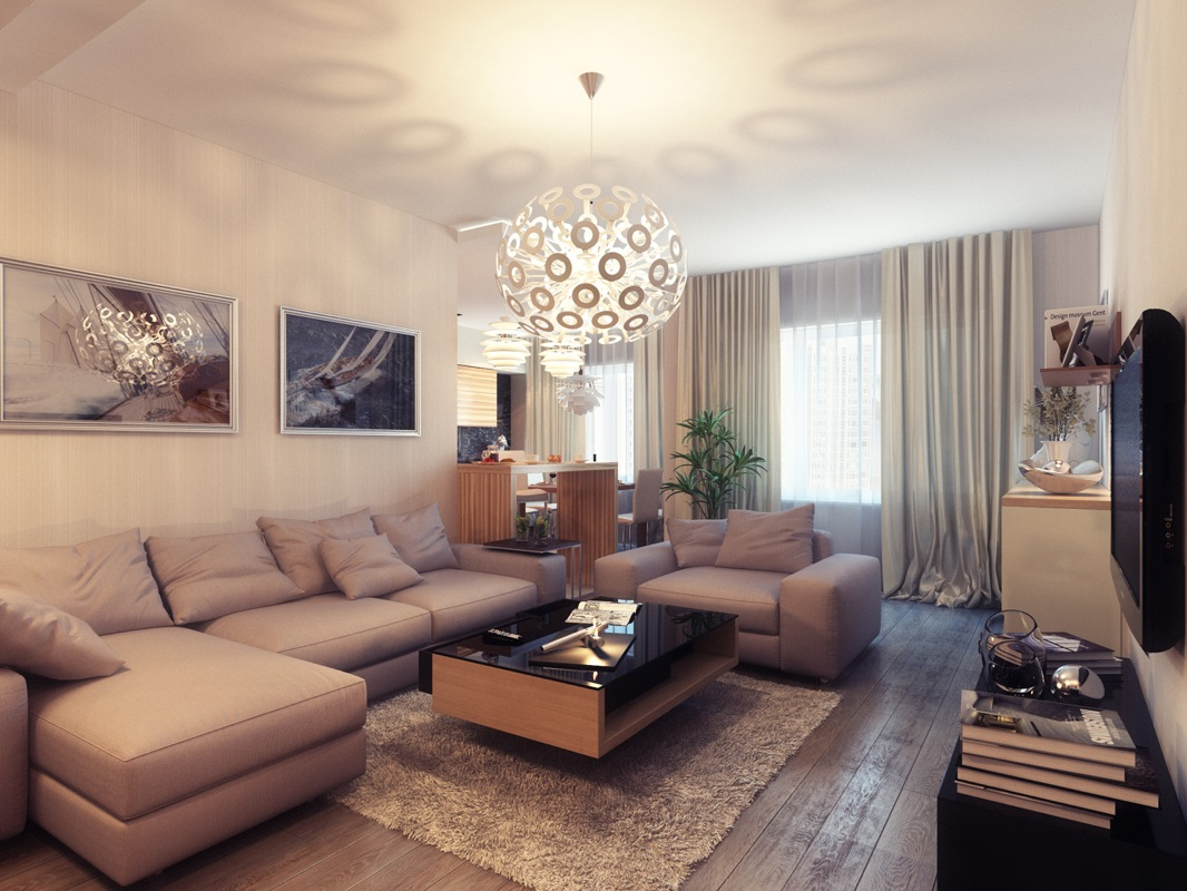 Tantalizing Living Area Using Sectional Sofa also Frantic Chandelier Decor