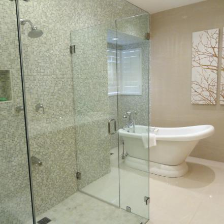 Tantalizing Wall With Small Tile For Decoratng Showering Area Near Bathtub