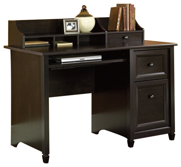 Marvelous Transitional Black Wooden Dessk For Computer With Drawers And Bookshelve
