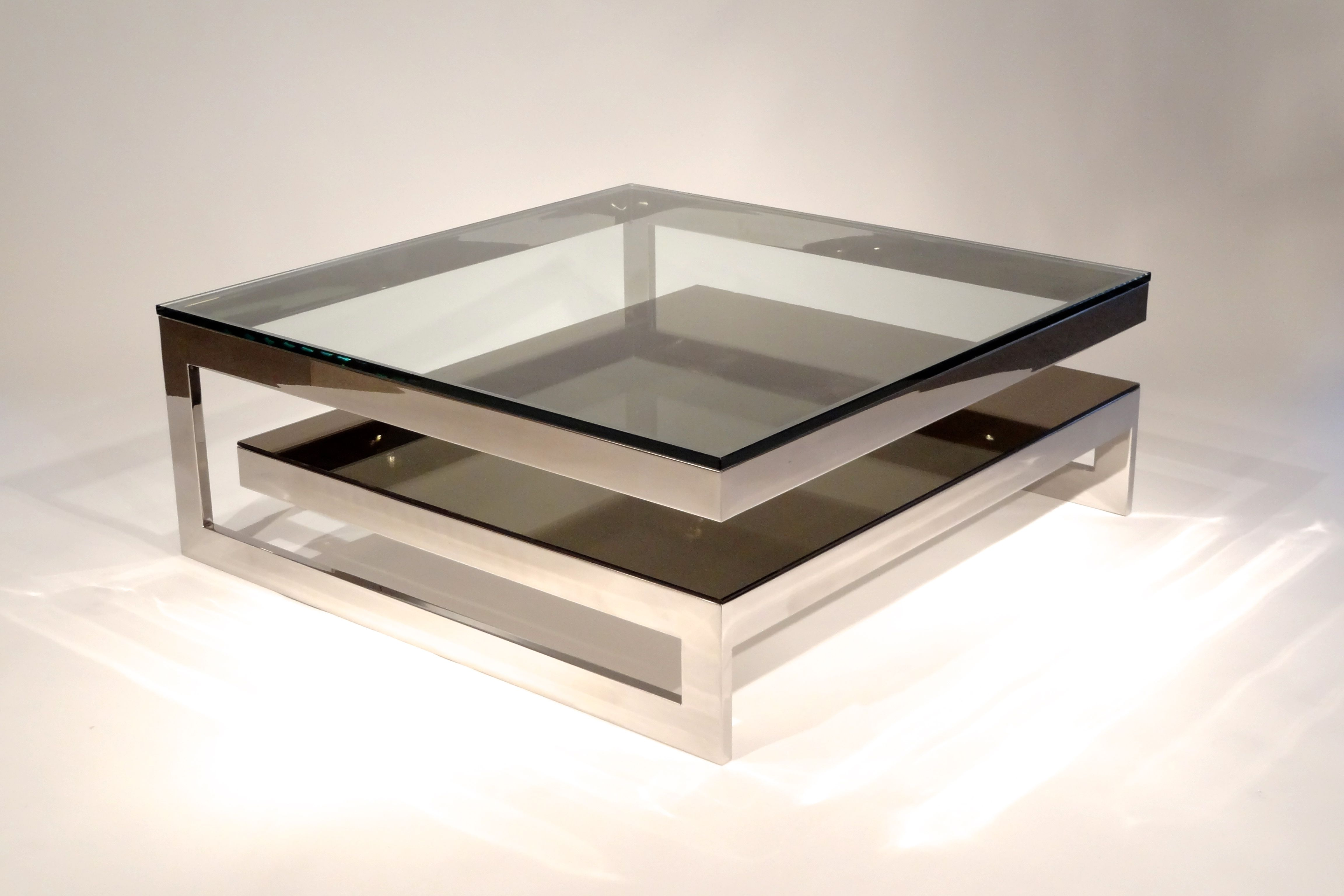 Unique Coffee Table Design For Small Room With Visible Glass Top