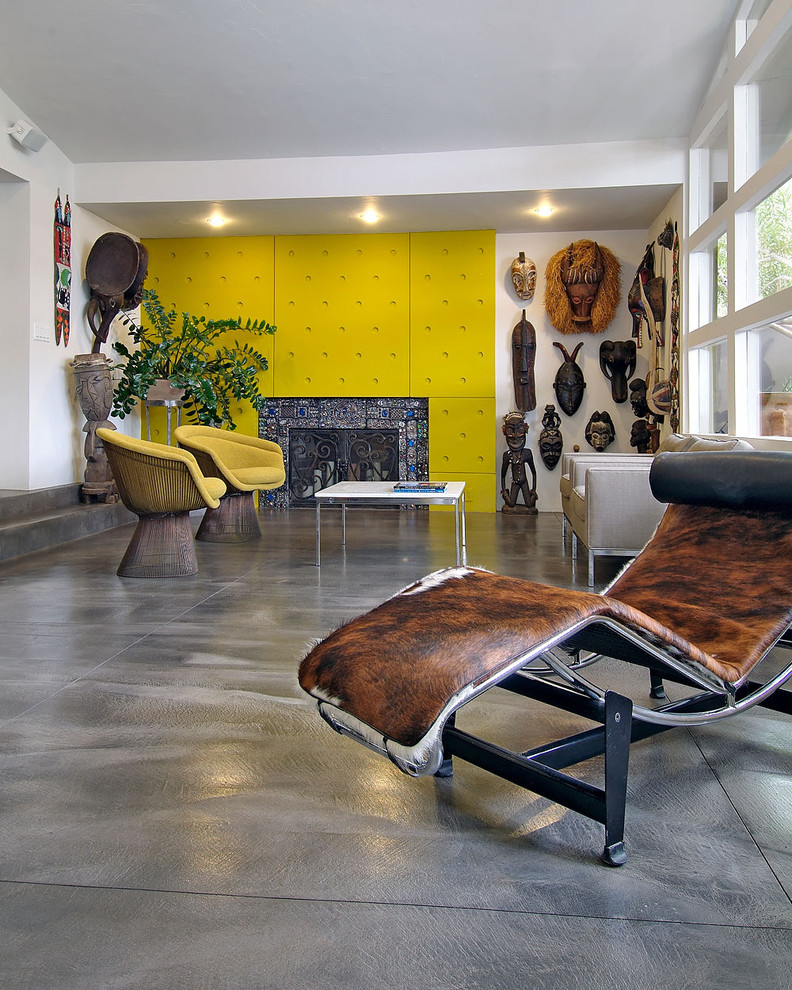 Winning Family Room With Yellow Chair and Comfortable Lounge Chair Decor