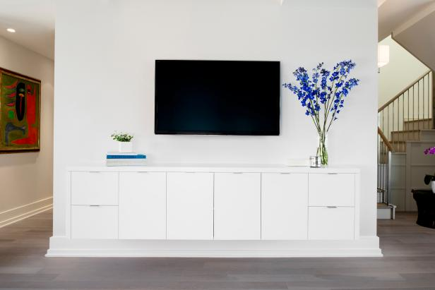 Winsome Interior Room With Blue Flower On White Cabinet Plus TV