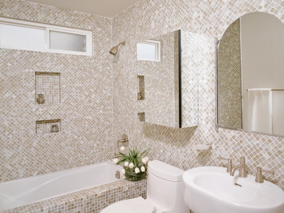 Winsome Tile Floor and Wall Design also Small Bathroom Storage