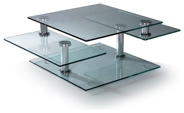 Wonderful Coffee Table  Design Ideas With Three Square Glass Top