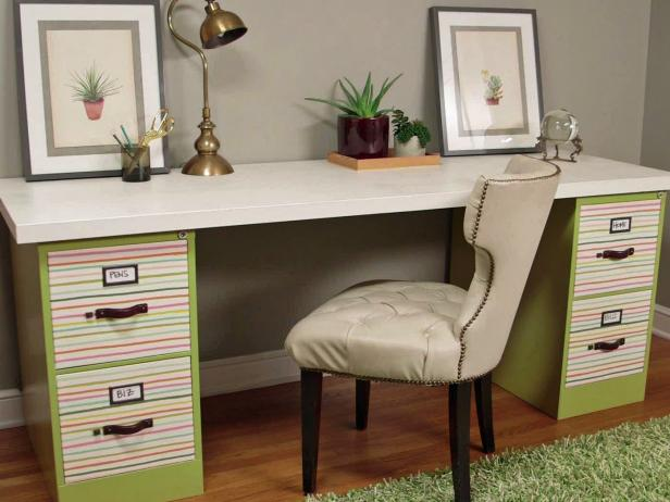 Wonderful Desk With Drawers also Comforatble Chair PLus Luring Table Lamp
