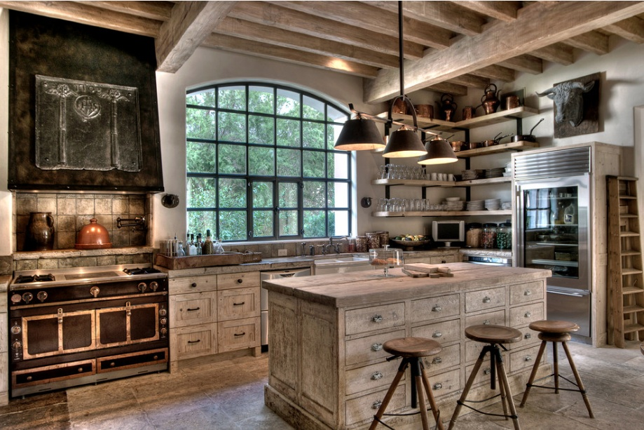 Wonderful Interior KItchen Decor With Rustic Cabinet and Wood Flooring