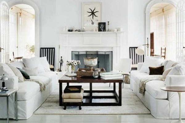 Wonderful Interior Living Area Using Wooden Table and Sofa Plus Crown Moulding Ideas